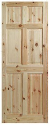 6 Panel Knotty Pine Internal Door, 2140