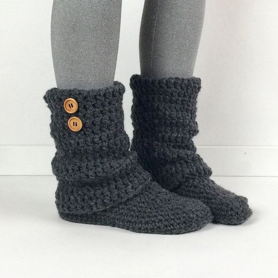 Women's Crochet Dark Gray Slouchy Slipper Boots, Knitted Ladies Slippers, Leg Warmer Booties, Warm Winter Slipper Socks, Heather Grey Boots