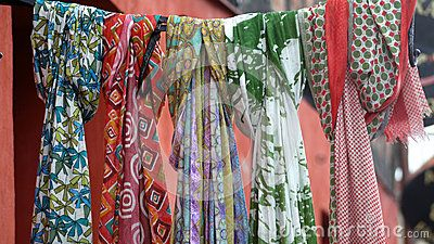 Multicolored scarfes for sale on a picturescue market place.