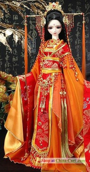 Ancient Chinese Princess Clothing and Hair Accessories Complete - (this is on a life size mannikin)