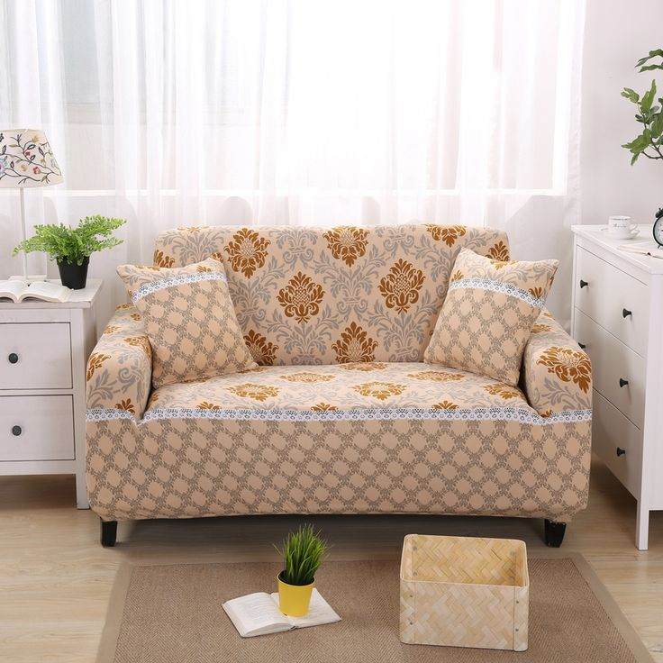Gold Pattern Modern Sofa Covers For 1 4 Seat Washable Sofa