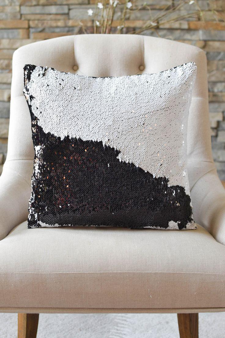 Black & White Reversible Sequin Mermaid Pillow
