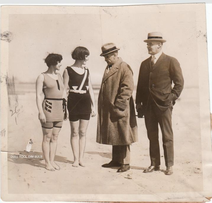 New Jersey Censors check swimming suits, 1924.. WOULDN'T THEY HAVE A NERVOUS BREAKDOWN WITH THE THONGS AND WOMENS BACKSIDES HANGIN OUT FOR EVERYONE TO LOOK AT