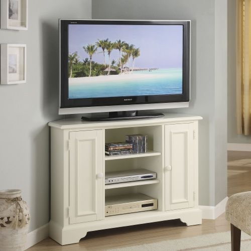 Riverside Splash of Color 44 in. Corner TV Stand Tall - Shores White - TV Stands at Hayneedle