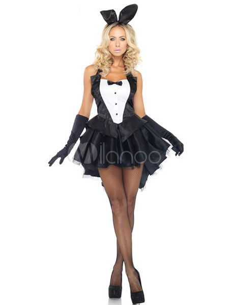 Black Two-tone Satin Sexy Bunny Costume For Women - Milanoo.com