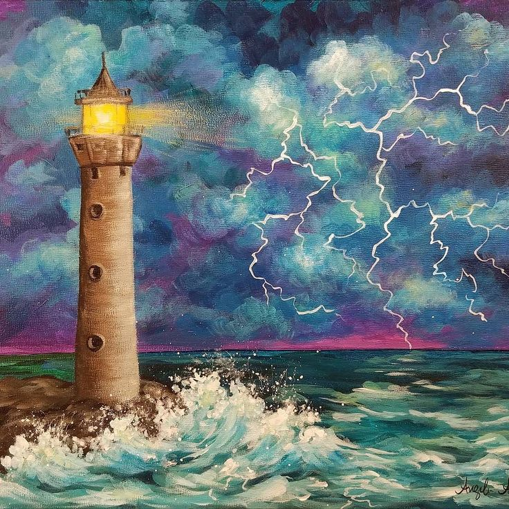 Bob Ross Inspired Acrylic Tutorial. Lighthouse in a Thunderstorm. Free Painting lesson on YouTube #lighthouse #painting #thunderstorm
