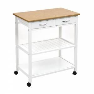 Country white kitchen trolley with draws, shelving and worktop.