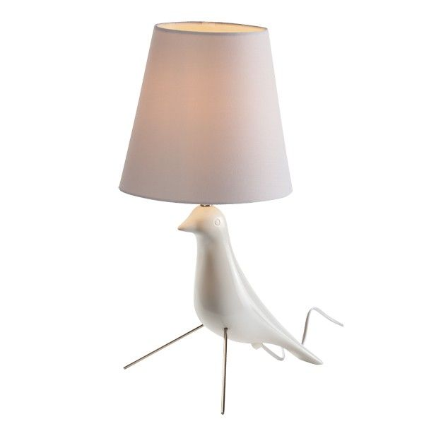 Beacon lighting twitter bird shaped table lamp in white with white shade