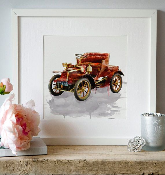 Oldtimer Classic cars Watercolor Wall art Digital by Artsyndrome