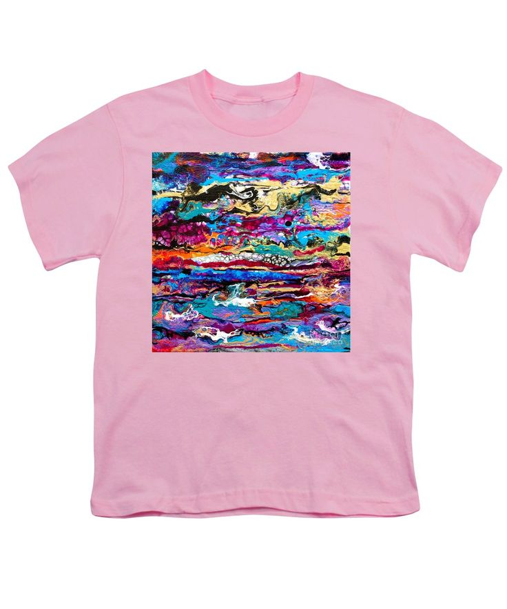 Original Fun Bright Vibrant Colorful Stripes Dynamic Pattern Happy Colors Dynamic Contemporary Fluid Acrylic Painting Youth T-Shirt featuring the painting #521 Bright Swipe by Expressionistart studio Priscilla Batzell