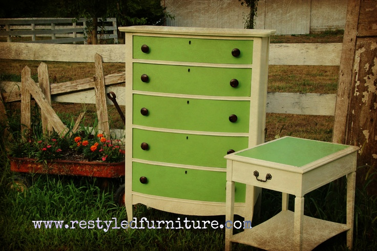 Chalk Paint™  Old White  Custom Green  Clear Wax  ReStyled