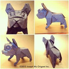 Monkey the French bulldog. Revised and simplified. | by Joseph Wu Origami