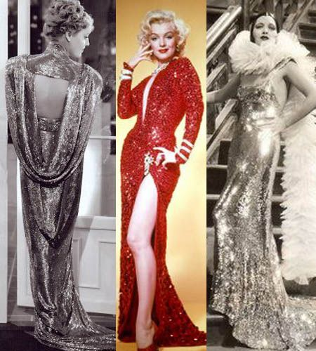 Old Hollywood Glmaour Gowns Rock the shimmer! Below  Jeanette MacDonald, Marilyn Monroe and Kay Francis exemplify iconic Hollywood glamour in these glittery gowns.