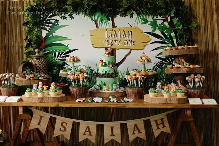 Jungle Theme Birthday Ideas | Jungle themed birthday party with Such Cute Ideas via Kara's Party ...