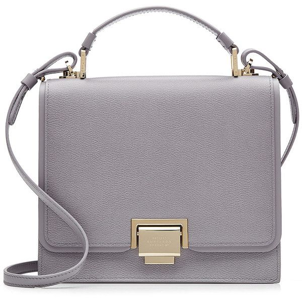 Smythson Leather Mini Crossbody Bag (1,075 CAD) ❤ liked on Polyvore featuring bags, handbags, shoulder bags, mauve, mini purse, mini handbags, leather crossbody, leather cross body purse and leather handbags