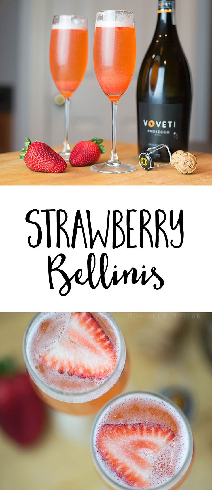 Strawberry Bellini Recipe - an easy to make and refreshing summer cocktail. Flavorful strawberry simple syrup paired with bubbly Prosecco makes for the perfect drink!