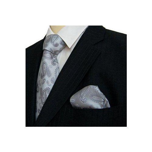 $42.84  Marc-Philippe Handmade Silk Tie and Matching Hanky Silver Paisley Luxury Wedding Set
