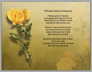 IF Roses grown in heaven poem for mother | Personalized If Roses Grow in Heaven Prayer Mother Poem | eBay