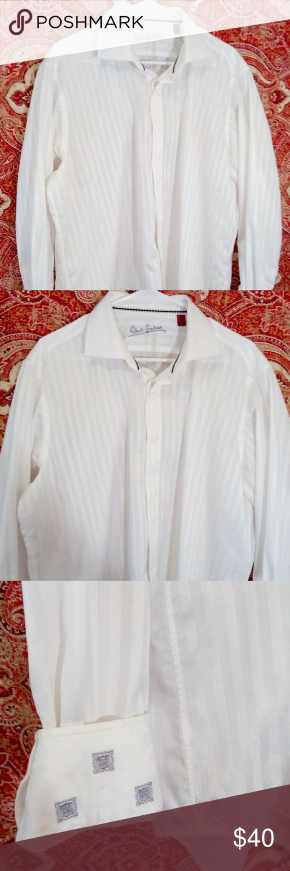 ROBERT GRAHAM L/S shirt  XL 17 WHITE Embroidered ROBERT GRAHAM L/S shirt  XL 17 WHITE Embroidered flip cuff / collar . Excellent Preowned Condition Robert Graham Shirts Casual Button Down Shirts