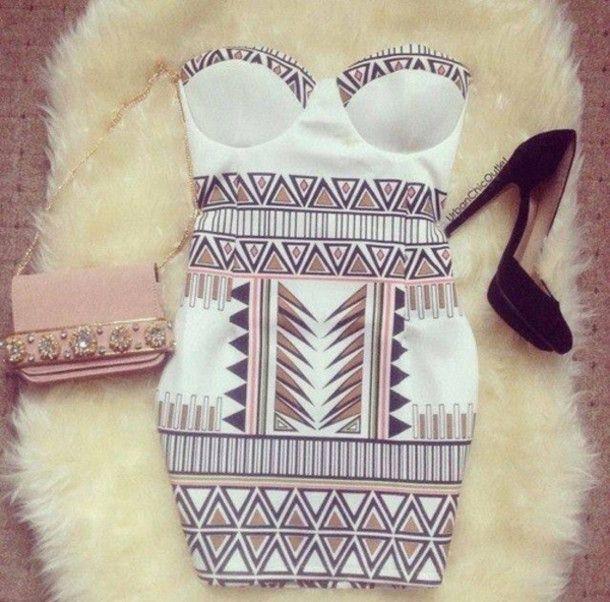 Dress: white tumblr, high heels, shorts, short party es, clutch - Wheretoget