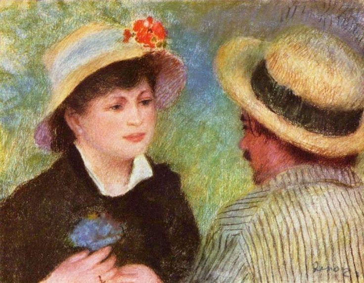 Соломенные шляпки (Алин Шариго и Огюст Ренуар) Пьер Огюст Ренуар 1881, 45×59 см                     20 лет было Алин Шариго, когда она стала натурщицей 38-летнего Ренуара. Через 2 года они начали жить вместе, а поженились только через 10 лет.