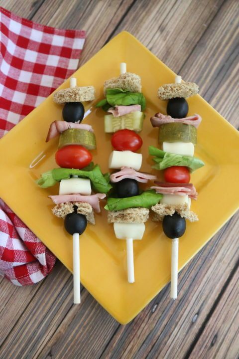 Healthy Lunch Ideas for Kids - Healthy Snacks for Kids - SANDWICH KABOBS - Let's be honest: Your little already makes a mess picking apart their sandwiches, so you might as well do it for them. Click through redbookmag.com for more healthy recipes your kids will love.