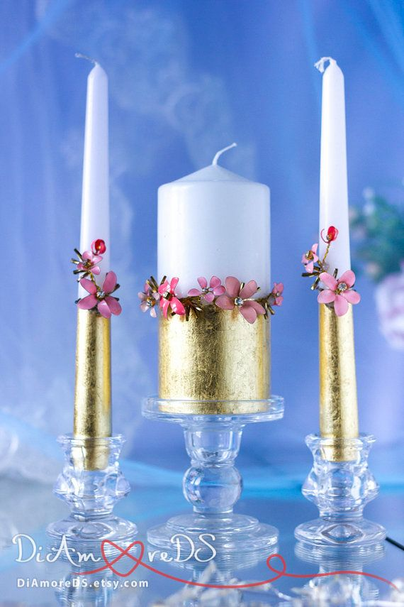 Flowers unity candle personalized votive candles gold от DiAmoreDS