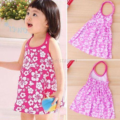 Пляжное платье с цветочным рисунком для девочек 2-7 лет