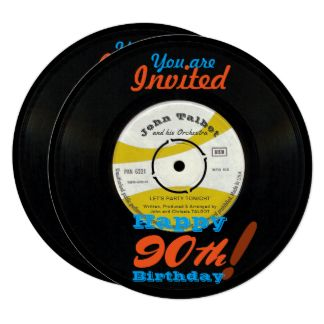90th Birthday Invite Retro Vinyl Record 45 RPM