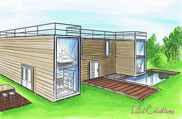 Lili cr ation container drawings floor plans pinterest - Maison container design ...