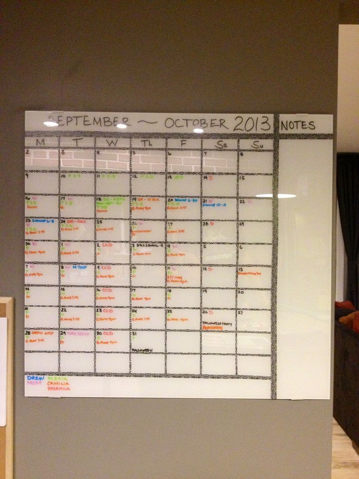Diy Magnetic Whiteboard Calendar : Diy month calendar i made with a glass whiteboard from