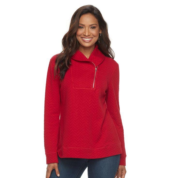 Women's Croft & Barrow® Shawl Collar Sweater, Med Red
