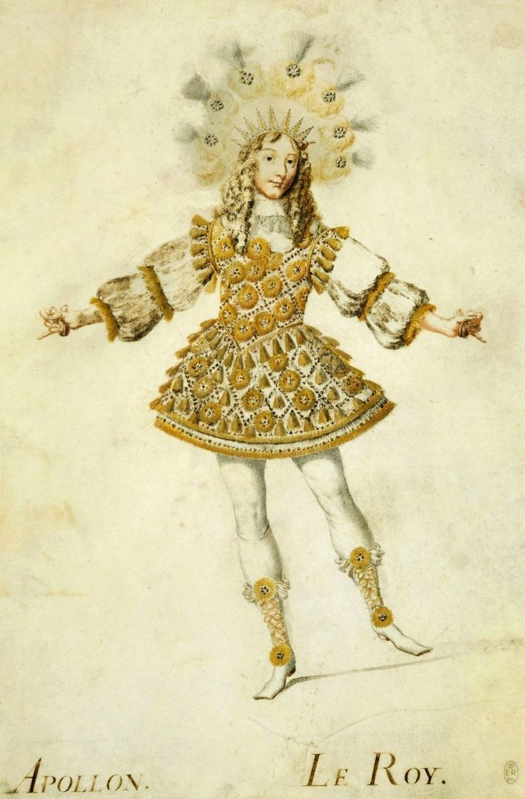 Louis XIV . Here we see the beginnings of the wide skirt which would be a characteristic of theatrical dress as worn by the castrati.