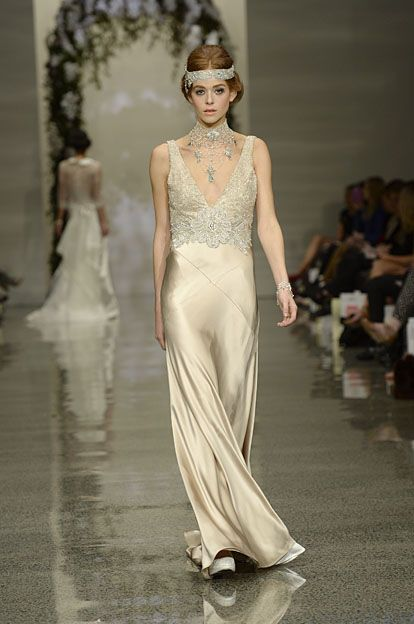 Robyn Cliffe Wedding dress. Lace bodies on silk satin dress.