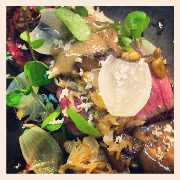 Wagyu sirloin, mushrooms, coffee, horseradish. 24 Aug 2012
