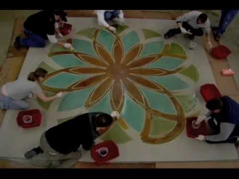 ▶ Decorative Concrete Art   Time Lapse - YouTube 10+ men working.... transform plain gray concrete into a beautiful geometric pattern using concrete stains & concrete engraving tools. see how you could do this yourself by going to the Engrave-A-Crete website.