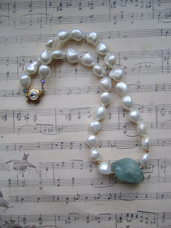 White Freshwater Pearl Necklace with Large by BijouxEmmElle, $71.00