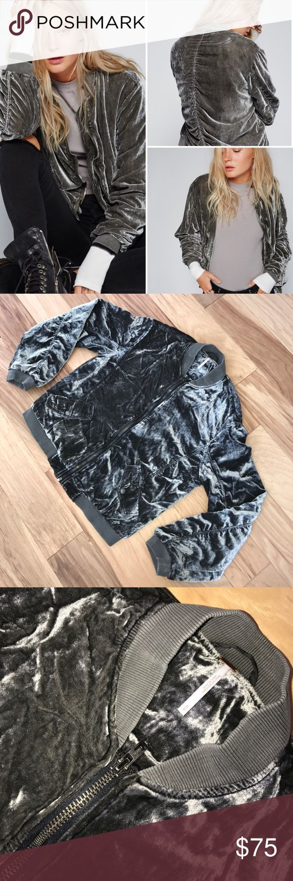 """Free people Velvet grey bomber jacket small❌Trade NWOT- No Wear / Ultra cool crushed velvet bomber jacket with ruched detailing on the sleeves and ribbed trim. Front zipper closure and hip pockets with snaps. Easy silky lining.  75% Viscose 25% Nylon Machine Wash Cold/ Measurements for size Small Bust: 43"""" = 109.22 cm Length: 23"""" = 58.42 cm Sleeve Length: 21"""" = 53.34 cm Free People Tops"""