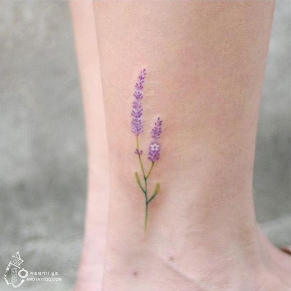 Simple lavender flower. Water color tattoo