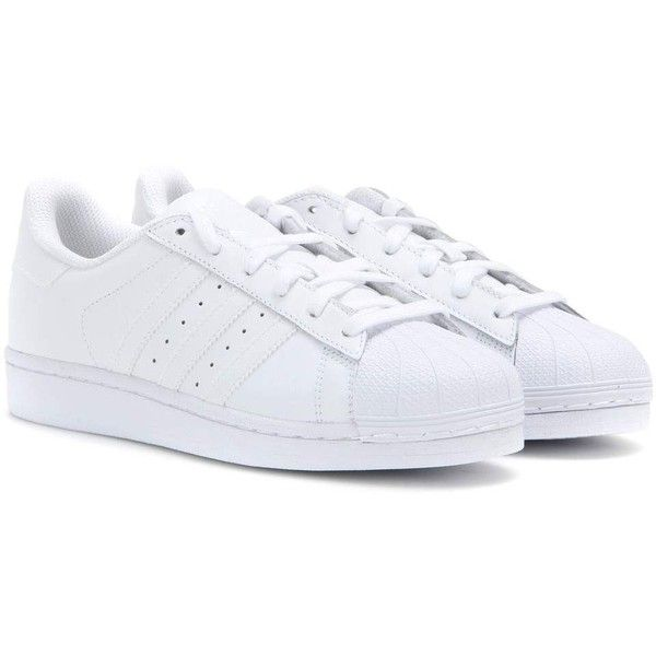 Adidas Originals Superstar Foundation Leather Sneakers ($100) ❤ liked on Polyvore featuring shoes, sneakers, white, white leather trainers, leather footwear, adidas trainers, adidas shoes and adidas sneakers
