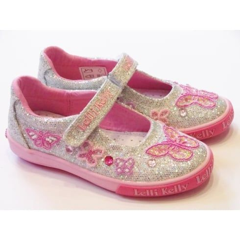 Lelli Kelly Butterfly LK9180 Girls Silver Glitter Canvas Shoes