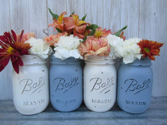 Painted and Distressed Ball Mason Jars Cream by Theretroredhead2