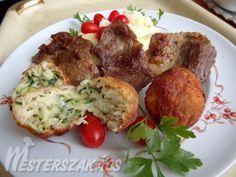 Mustáros sült hús, sajtos cukkinigolyókkal recept