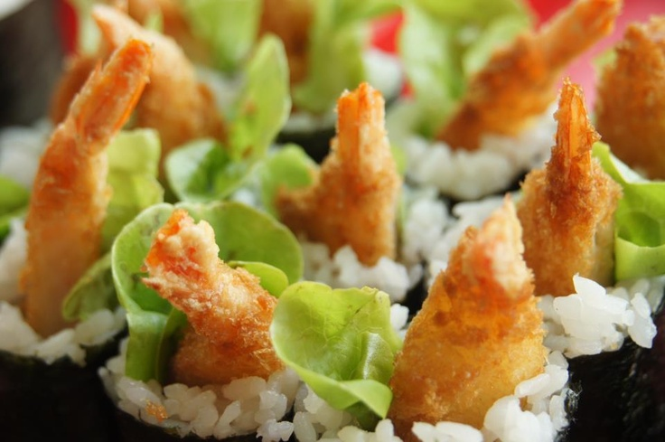 What's for lunch at Sushi Sushi Nunawading Brand Smart?  Presenting the ever-popular tempura prawn hand roll, fresh from all angles! Yumm!