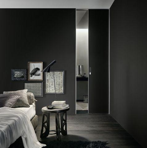 door aluminium structure and black mat lacquered glass