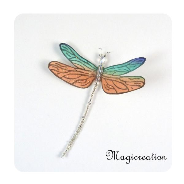 MAGNET LIBELLULE SOIE ORANGE ET VERT LAGON -DEMOISELLE - Boutique www.magicreation.fr