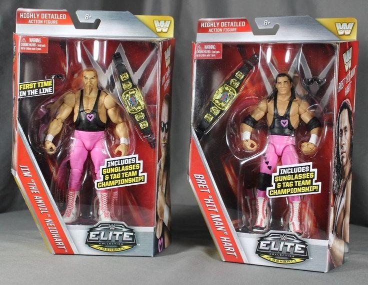 NEW WWE Elite Action Figures Bret The Hitman Hart + Jim The Anvil Neidhart  #Mattel