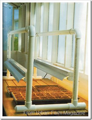 Make your own grow light stand.  Start seeds indoors early! i love this. I have something similar in the garage, except it hangs from the ceiling. This would be PORTABLE! Imagine.