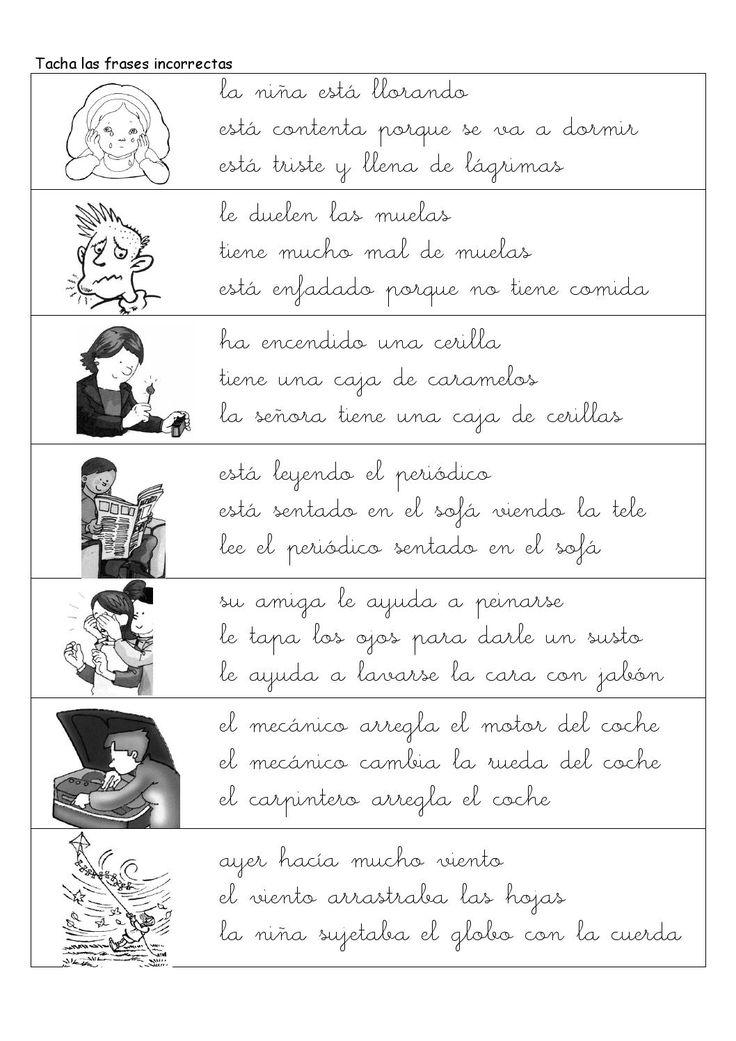 Fichas de comprension lectora con frases y textos primer ciclo de primaria