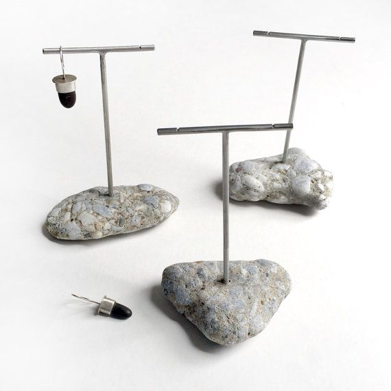 Earring Display Stand Trio T Rack Holder Lake Erie Beach Stone Concrete Aggregate Rock Jewelry Show Set Of Three